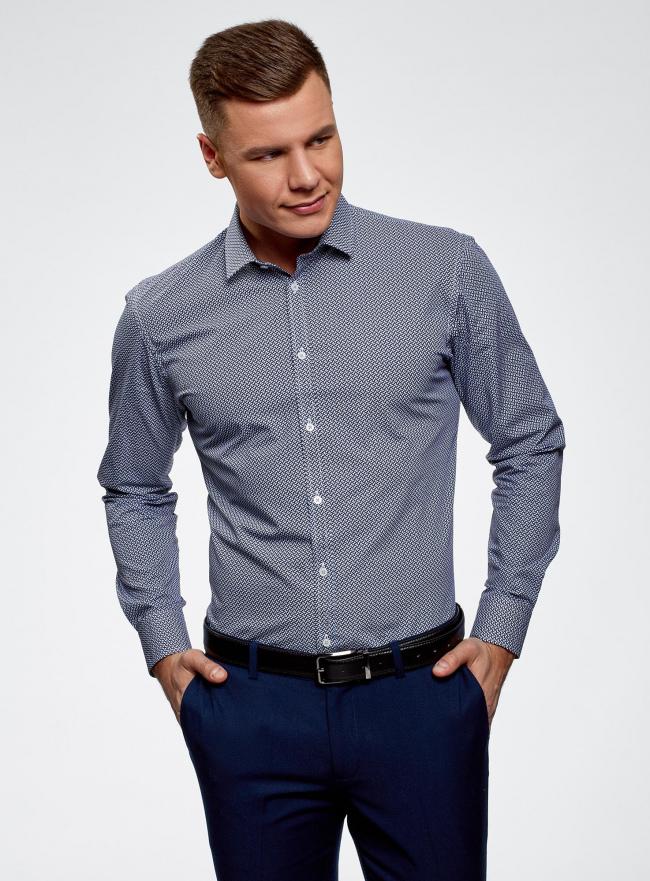 Рубашка базовая из хлопка  oodji #SECTION_NAME# (синий), 3B110026M/19370N/1075G