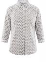 Блузка хлопковая с рукавом 3/4 oodji #SECTION_NAME# (белый), 13K03005B/26357/1075E