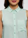 Топ вискозный с рубашечным воротником oodji для женщины (зеленый), 14911009B/26346/6500N