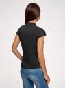 Рубашка с воротником-стойкой и коротким рукавом реглан oodji #SECTION_NAME# (черный), 13K03006B/26357/2900N - вид 3