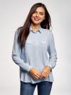 Блузка вискозная с нагрудными карманами oodji #SECTION_NAME# (синий), 11411127-1B/42807/7000N - вид 2