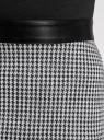 Платье комбинированное с поясом из искусственной кожи oodji для женщины (черный), 24000302/42376/2919G