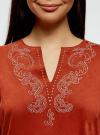 Платье из искусственной замши с декором из металлических страз oodji #SECTION_NAME# (красный), 18L01001/45622/3100N - вид 4