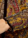 Блузка из струящейся ткани с контрастной отделкой oodji #SECTION_NAME# (желтый), 11411059-2/38375/5729E - вид 5