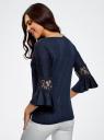 Блузка трикотажная с кружевными вставками на рукавах oodji #SECTION_NAME# (синий), 11308096/43222/7900N - вид 3