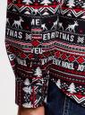 Рубашка приталенная с новогодним принтом oodji #SECTION_NAME# (разноцветный), 3L110347M/19370N/7912G - вид 5