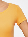 Футболка базовая приталенная oodji #SECTION_NAME# (желтый), 14701005-7B/46147/5200N - вид 5