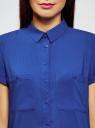 Блузка из вискозы с нагрудными карманами oodji #SECTION_NAME# (синий), 11400391-4B/24681/7500N - вид 4