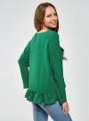 Блузка вискозная с воланами oodji #SECTION_NAME# (зеленый), 11405136/46436/6E00N - вид 3