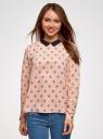 Блузка прямого силуэта с отложным воротником oodji #SECTION_NAME# (розовый), 11411181/43414/4029U - вид 2