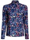Блузка принтованная из вискозы oodji #SECTION_NAME# (синий), 11411098-3M/24681/7945F