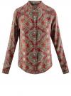 Блузка из вискозы принтованная с воротником-стойкой oodji #SECTION_NAME# (красный), 21411063-2/26346/4533E