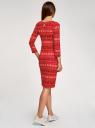 Платье трикотажное с вырезом-капелькой на спине oodji #SECTION_NAME# (красный), 24001070-5/15640/4575E - вид 3