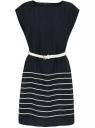 Платье принтованное с плетеным ремнем oodji для женщины (синий), 21900128/35542/7912S