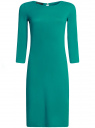 Платье трикотажное с вырезом-капелькой на спине oodji #SECTION_NAME# (зеленый), 24001070-5/15640/6D00N