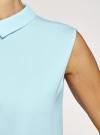 Блузка базовая без рукавов с воротником oodji #SECTION_NAME# (бирюзовый), 11411084B/43414/7000N - вид 5