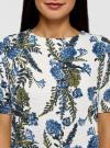 Платье из фактурной ткани прямого силуэта oodji #SECTION_NAME# (белый), 24001110-3/42316/3070F - вид 4