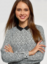 Блузка прямого силуэта с отложным воротником oodji #SECTION_NAME# (серый), 11411181/43414/2012B - вид 4