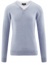 Пуловер с хлопковой вставкой на груди oodji #SECTION_NAME# (синий), 4B212006M/39245N/7001B
