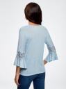 Блузка трикотажная с кружевными вставками на рукавах oodji #SECTION_NAME# (синий), 11308096/43222/7000N - вид 3