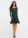 Платье вязаное с расклешенным низом oodji для женщины (зеленый), 63912223/46096/6E00N - вид 2
