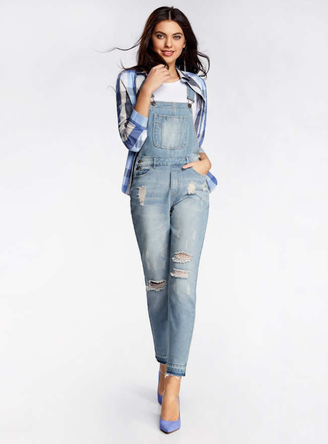 Комбинезон джинсовый с декоративными потертостями oodji #SECTION_NAME# (синий), 13108002/45254/7000W