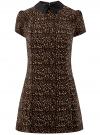 Платье мини с коротким рукавом oodji #SECTION_NAME# (бежевый), 11902153-1/45079/3329A