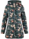 Куртка удлиненная с капюшоном oodji для женщины (зеленый), 10204058-1B/46708/6954F