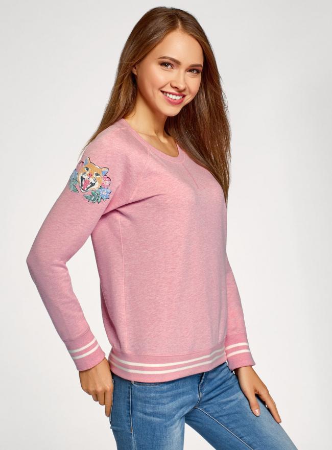 Свитшот хлопковый с принтом и вышивкой oodji #SECTION_NAME# (розовый), 14807021-11/46919/4119Z