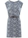 Платье принтованное из вискозы oodji #SECTION_NAME# (синий), 11910073-2/45470/7912F