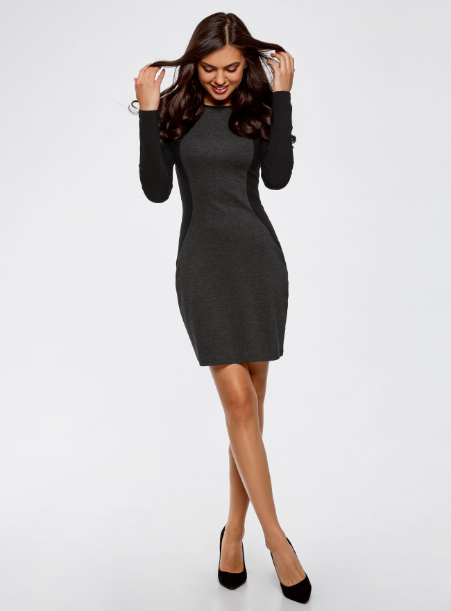 Платье облегающее с контрастными вставками oodji для женщины (серый), 14011009-1/43127/2329B