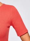 Платье прилегающего силуэта в рубчик oodji #SECTION_NAME# (красный), 14011012/45210/4300N - вид 5