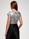 Футболка из фактурной ткани с рукавом реглан oodji для женщины (серебряный), 24707002-5/49857/9100X