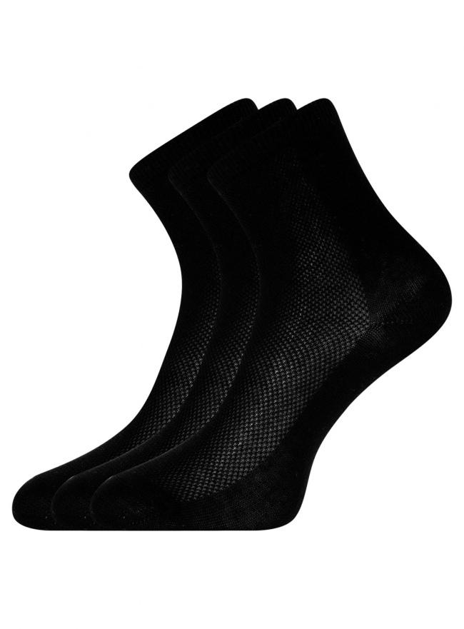 Комплект из трех пар хлопковых носков oodji для женщины (черный), 57102809T3/48022/3