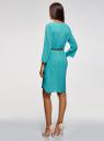 Платье вискозное с ремнем oodji #SECTION_NAME# (бирюзовый), 11900180B/42540/6D00N - вид 3
