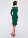 Платье трикотажное облегающего силуэта oodji #SECTION_NAME# (зеленый), 14001183B/46148/6E00N - вид 3