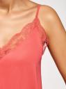 Топ в бельевом стиле с кружевной отделкой oodji #SECTION_NAME# (розовый), 14911004-1B/45193/4300N - вид 5