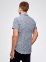 Рубашка принтованная с коротким рукавом oodji #SECTION_NAME# (синий), 3L210052M/46877N/7079F - вид 3