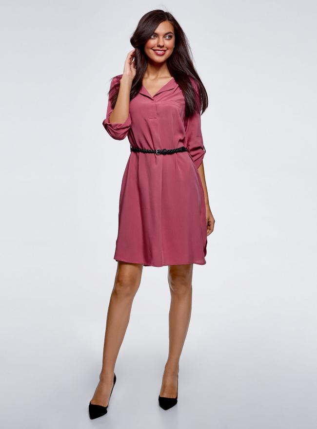 Платье вискозное с ремнем oodji для женщины (розовый), 11900180/42540/4A00N