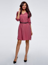 Платье вискозное с ремнем oodji #SECTION_NAME# (розовый), 11900180/42540/4A00N - вид 2