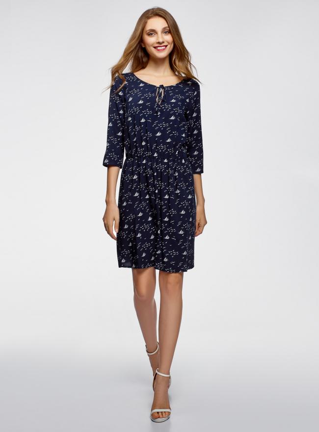 Платье вискозное с бантом oodji для женщины (синий), 11913053/42540/7912O