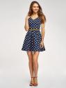 Платье принтованное с ремнем oodji для женщины (синий), 11913021/19766/7912D