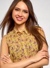Топ из струящейся ткани с рубашечным воротником oodji для женщины (желтый), 14903001B/42816/524CF - вид 4