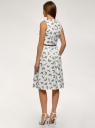 Платье с поясом без рукавов принтованное oodji для женщины (белый), 12C13008-4/20015/1225U