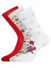 Комплект из трех пар хлопковых носков oodji для женщины (разноцветный), 57102902-4T3/10231/8 - вид 2