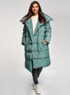 Пальто утепленное с воротником-стойкой oodji #SECTION_NAME# (зеленый), 10203077/45934/6C00N - вид 2