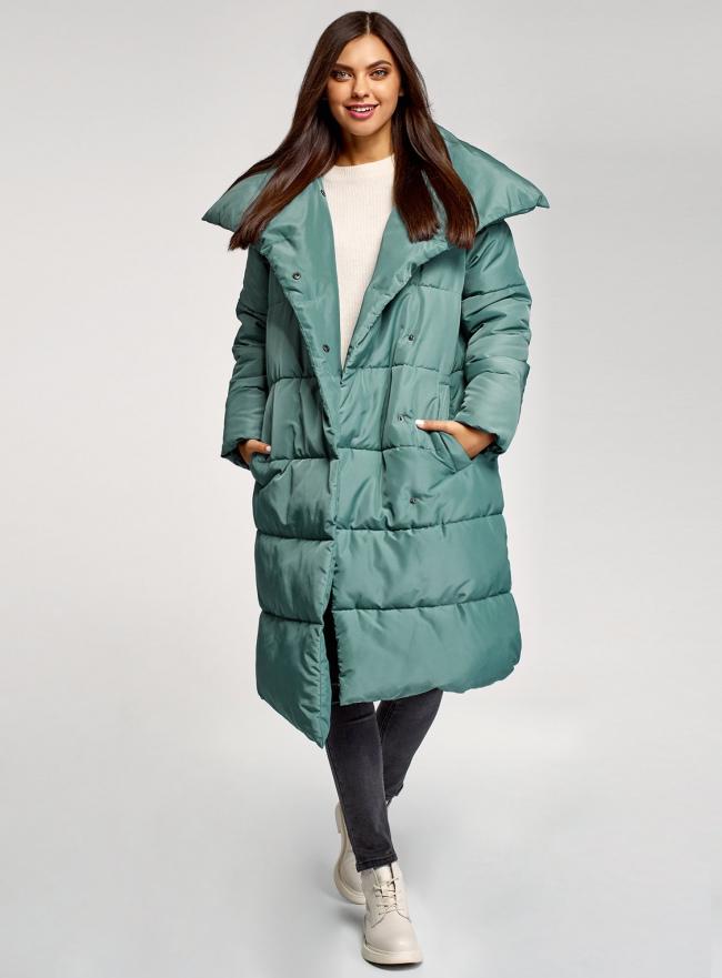 Пальто утепленное с воротником-стойкой oodji #SECTION_NAME# (зеленый), 10203077/45934/6C00N