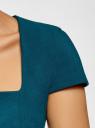 Платье-футляр из плотной ткани с квадратным вырезом oodji #SECTION_NAME# (синий), 21902065/31291/7400N - вид 5