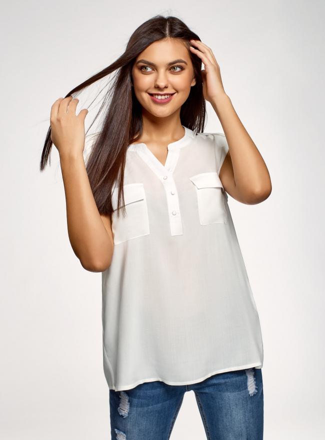 Блузка вискозная с нагрудными карманами oodji для женщины (белый), 21412132-6B/48756/1200N