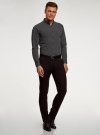 Рубашка базовая приталенная oodji для мужчины (черный), 3B110019M/44425N/2923G - вид 6